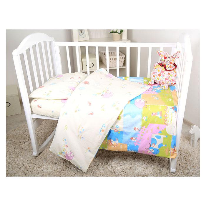 Комплект детского постельного белья Baby Nice Ферма, цвет: желтый, 3 предмета0001056-4Детский комплект постельного белья Baby Nice Ферма состоит из наволочки, пододеяльника и простыни на резинке. Такой комплект идеально подойдет для кроватки вашего малыша и обеспечит ему здоровый сон. Он изготовлен из натурального 100% хлопка, дарящего малышу непревзойденную мягкость. Натуральный материал не раздражает даже самую нежную и чувствительную кожу ребенка, обеспечивая ему наибольший комфорт. Простыня с помощью специальной резинки растягивается на матрасе. Она не сомнется и не скомкается, как бы не вертелся ребенок. Приятный рисунок комплекта, несомненно, понравится малышу и привлечет его внимание. На постельном белье Baby Nice Ферма ваша кроха будет спать здоровым и крепким сном.