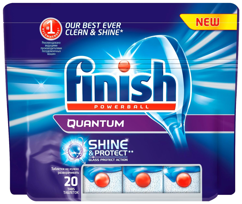 Finish Quantum Блеск и Защита, 20 таблетокU210DFНовый Finish Quantum Блеск и Защита - это удобные таблетки для посудомоечной машины, которые оказывают тройное действие против жира и грязи, а также придают исключительный блеск и защищают стеклянную посуду от коррозии.Товар сертифицирован.