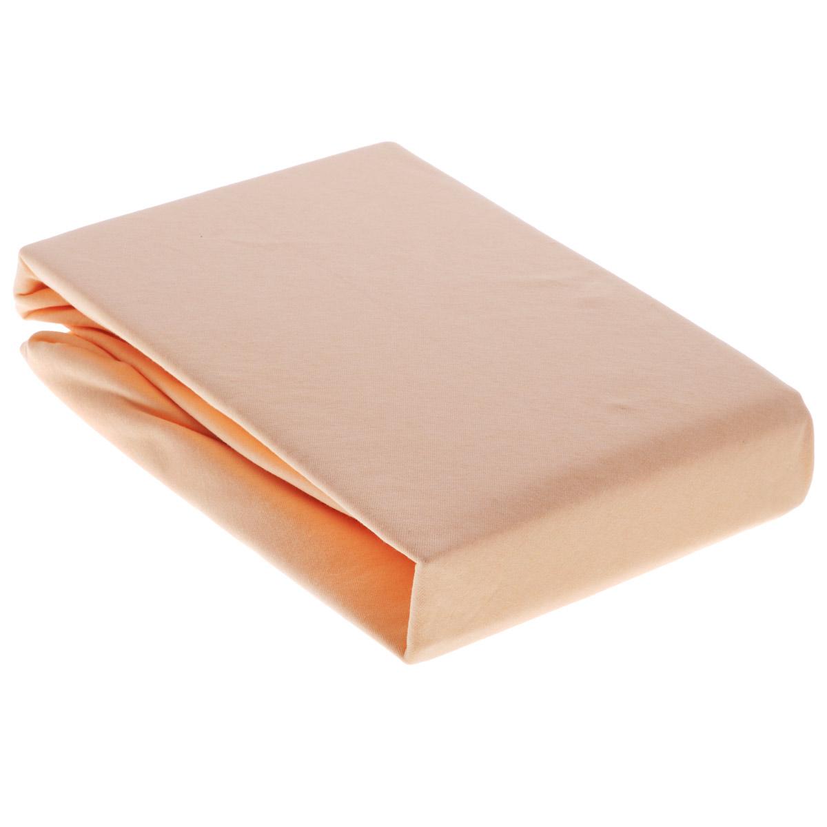 Простыня OL-Tex Джерси, на резинке, цвет: персиковый, 180 х 200 х 20 смПтр-180Простыня OL-Tex Джерси изготовлена из гладкокрашеного трикотажного полотна, не имеет швов. По всему периметру простыня снабжена резинкой. Изделие легко одевается на матрасы высотой до 20 см. Идеально подходит в качестве наматрасника. Рекомендации по уходу:- Ручная и машинная стирка при температуре 30°С.- Гладить при средней температуре до 150°С.- Не отбеливать. - Можно сушить и отжимать в стиральной машине. - Химчистка запрещена.