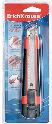 Нож канцелярскийErich Krause Arrow, с лезвиями, 16,5 см19152Канцелярский нож Erich Krause Arrow предназначен для работы с бумагой, плотным картоном, пленкой и т.д. Корпус ножа выполнен из пластика с боковыми противоскользящими резиновыми вставками. Выдвижное 8-секционное лезвие изготовлено из высококачественной армированной стали. Металлические направляющие исключают перекос и выпадение лезвия в процессе интенсивного использования. В корпус встроена специальная насадка для удаления затупившихся сегментов лезвия. Нож оснащен плоским ручным фиксатором и системой блокировки лезвия Auto-Lock. Комплект включает 2 дополнительных лезвия.Материал: сталь, пластик, резина.Размер ножа: 16,5 см x 3,5 см x 2,2 см.Ширина лезвия: 1,8 см.Длина лезвия: 10 см.