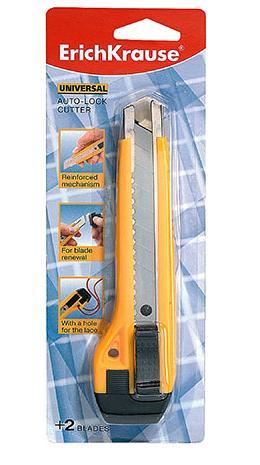 Нож канцелярский Erich Krause Universal, с лезвиями, 16,5 см464510Канцелярский нож Erich Krause Universal предназначен для работы с бумагой, картоном, пленкой и другими материалами. Корпус ножа выполнен из цветного пластика. Многосекционное лезвие изготовлено из высококачественной стали. Нож оснащен системой блокировки лезвия. Изделие имеет отверстие для шнурка. В комплекте 2 дополнительных лезвия. Материал: сталь, пластик.Размер ножа: 16,5 см x 4 см x 2,5 см.Ширина лезвия: 1,8 см.Длина лезвия: 10 см.
