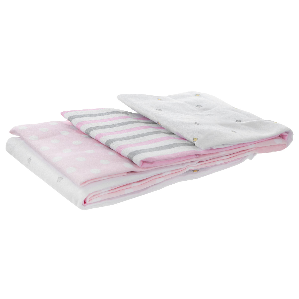 Комплект фланелевых пеленок Babydays Звездочка, 76 см х см, цвет: розовый, 3 шт