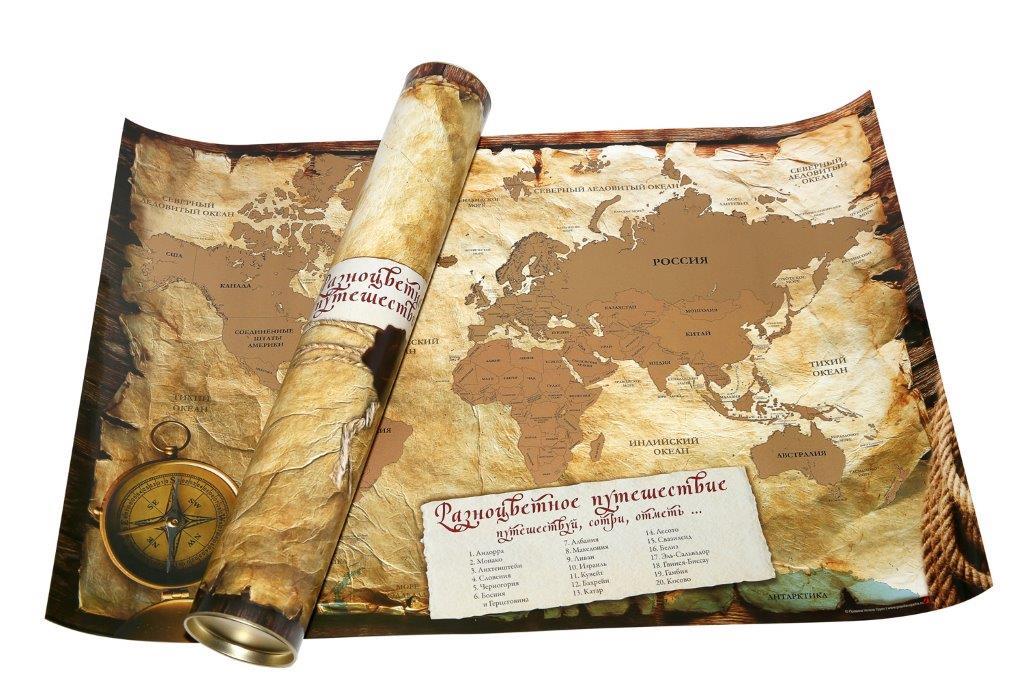 Карта мира Разноцветное путешествие со стираемым слоем, 45 х 65 см117919Карта мира Разноцветное путешествие изготовлена из бумаги с глянцевым эффектом. Изделие оснащено стираемым слоем - просто сотрите монеткой защитный слой, и те страны, в которых вы побывали, приобретут на карте яркий цвет. Такая карта станет оригинальным подарком для любого путешественника!Карта упакована в тубус, оформленный ярким изображением.