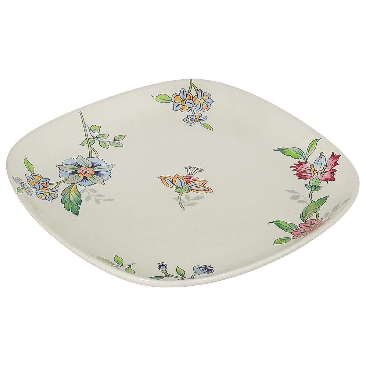 Тарелка Nuova Cer Прованс, 19 см х 19 смFS-91909Изящная тарелка Nuova Cer Прованс изготовлена из высококачественной керамики. Изделие оформлено красочным изображением цветов. Предназначена для сервировки закусок и различных блюд. Оригинальная тарелка прекрасно оформит стол и порадует вас лаконичным и ярким дизайном.Можно использовать в микроволновой печи и мыть в посудомоечной машине.Размер тарелки (по верхнему краю): 19 см х 19 см.Высота тарелки: 2,2 см.