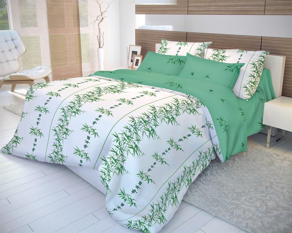 Комплект белья Волшебная ночь Бамбук, 2-спальный, наволочки 70х70, цвет: белый, зеленый. 1837894630003364517Комплект белья Волшебная ночь Бамбук, выполненный из ранфорса (100% хлопка), состоит из пододеяльника, простыни и двух наволочек.Постельное белье из ранфорса очень прочное и долговечное. Такой комплект выдержит многократное количество стирок, а яркие цвета не начнут тускнеть очень продолжительное время. Ранфорс практически не мнется, не электризуется, великолепно впитывает влагу и отлично вентилируется.Рекомендации по уходу: - Машинная и ручная стирка при температуре не более 60°С,- Не отбеливать, - Гладить при средней температуре, - Сушить в стиральной машине при средней температуре, - Химчистка запрещена.