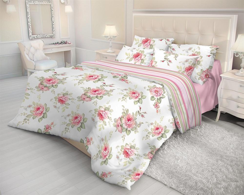 Комплект белья Волшебная ночь Ева, 2-спальный, наволочки 50х70, цвет: белый, розовый, зеленый. 183727VT-1520(SR)Постельное белье Волшебная ночь Ева оригинально дополнит интерьер спальни в стиле прованс. Комплект выполнен из ткани ранфорс - 100% хлопковой ткани, ее называют бязь нового поколения. Особенность ранфорса - использование технологии Combed Cotton - уникальной разработки компании Нордтекс. Пряжу дополнительно вычесывают, полируют, делая ее более ровной и гладкой. В результате ткань получается мягкой и шелковистой. Износостойкость ткани ранфорс выше, чем у обычной бязи.Особенности: Не надо гладить - белье самостоятельно восстанавливает форму после стирки, достаточно высушить аккуратно развешенное белье и, свернув его, убрать в шкаф. Не мнется - внешний вид белья остается безупречным и между стирками, оно не сминается в процессе эксплуатации - такое ощущение, будто постель только что заправили. Не пачкается - постельное белье с обработкой Легкий уход меньше пачкается и дольше сохраняет свежесть. Роботизированная линия пошива обеспечивает гарантию геометрии изделия и точный размер. Повышенная прочность и отсутствие усадки, ткань не пиллингуется и долгое время сохраняет первоначальный внешний вид.
