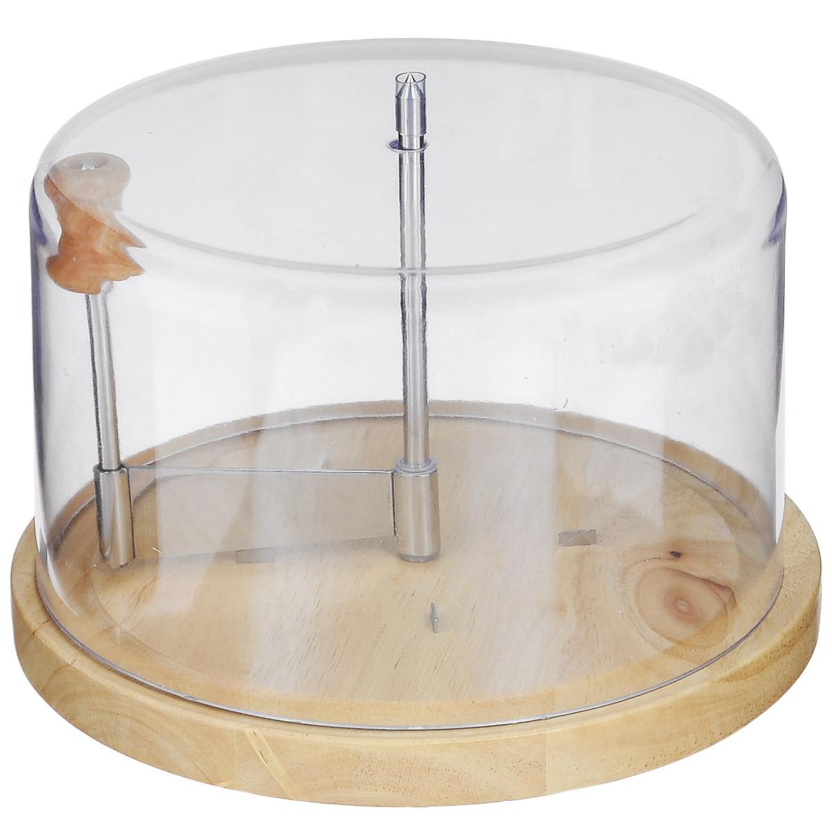 Набор для резки сыра Iris Barcelona, 3 предметаK0800314Набор для резки сыра Iris Barcelona состоит из круглой деревянной доски, прозрачной пластиковой крышки и ножа. Специально предназначен для нарезки круглых головок сыра. Поможет создать великолепную закуску или десерты с профессионально нарезанными сырными или шоколадными ломтиками. Идеально подходит для резки ломтиков из швейцарского сыра Tete de Moine. Такой набор станет изысканным подарком для всех любителей сыра. Диаметр доски: 22 см. Высота крышки: 12 см. Длина лезвия ножа: 7 см.