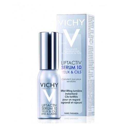 Vichy Сыворотка 10 Глаза & Ресницы Liftactiv Дерморесурс, 15 мл12052657Первая антивозрастная сыворотка от Vichy для кожи вокруг глаз укрепляющая ресницы сокращает морщины и осветляет кожу вокруг глаз.Ваш взгляд становиться моложе и выразительнее.День за днем укрепляет ресницы, увеличивая их густоту за 1 месяц на 42%.Содержит Рамнозу 10%, Керамиды, Гиалуроновую кислоту и светоотражающие частицы.Рамноза запатентованная инновационная молекула растительного происхождения в максимальной 10%-ой концентрации прицельно воздействует на ресурс молодости кожи - Дерморесурс, возобновляя его активность и омолаживая все слои кожи.При возрастных изменениях кожи вокруг конура глаз женщин 35+: морщины, темные круги, припухлости, потеря сияния, ослабленные ресницы.