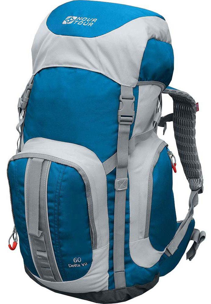 Рюкзак Nova Tour Дельта 60 V2, цвет: серый, синий, 60 лKOC-H19-LEDРюкзак Nova Tour Дельта 60 V2 создавался под девизом Все гениальное просто. Все необходимое снаряжение, и даже немного больше, поместится в увеличенное по диаметру основное отделение и три вместительных кармана, расположенных на фронтальной и боковых частях рюкзака. Комфорт при переноске обеспечивают мягкие подушки Air Mesh, играющие вместе с поясом роль подвесной системы. Если вам во время перехода потребуется снять верхнюю одежду, то ее можно удобно нести, перекинув через боковую стяжку рюкзака, и быстро одеть, если станет прохладнее. Вы не испытаете неудобств с погрузкой рюкзака благодаря удобным транспортировочным ручкам. На концах боковых стяжек имеются липучки для закрепления излишков стропы.