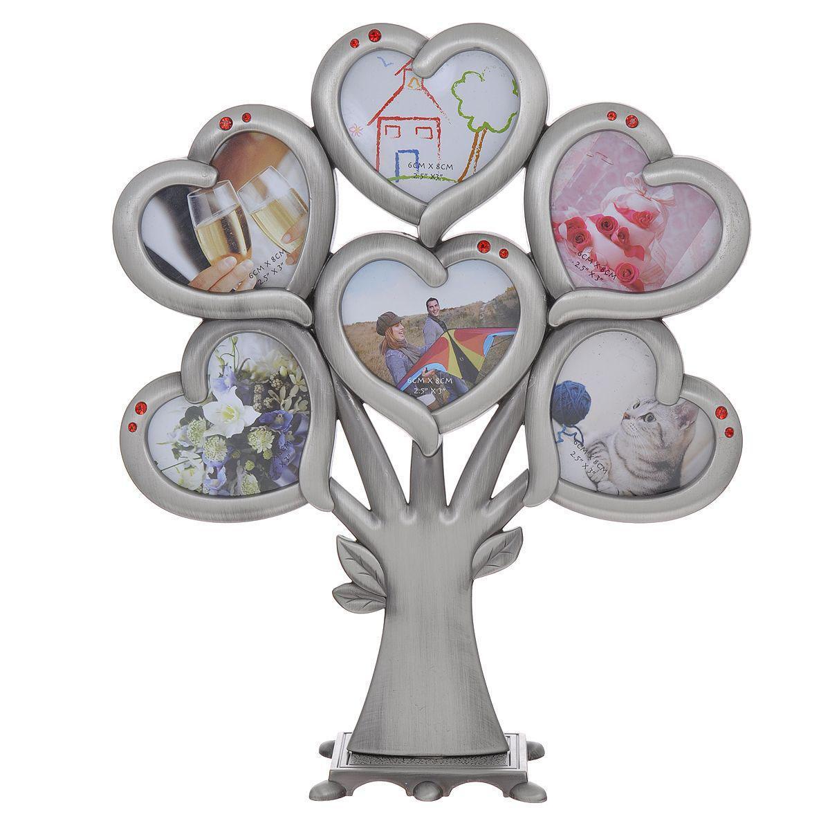 Декоративная фоторамка Дерево, на 6 фото, 6 х 8 см 264026Platinum JW40-7 ГОРИЦИЯ-ЗОЛОТОЙ 21x30Декоративная фоторамка Дерево выполнена из металла цвета серый металлик. Фоторамка представляет собой дерево с шестью рамочками в форме сердца, украшенных красными стразами. Изысканная и эффектная, эта потрясающая рамочка покорит своей красотой и изумительным качеством исполнения. Декоративная фоторамка Дерево не только украсит интерьер помещения, но и поможет разместить фото всей вашей семьи.