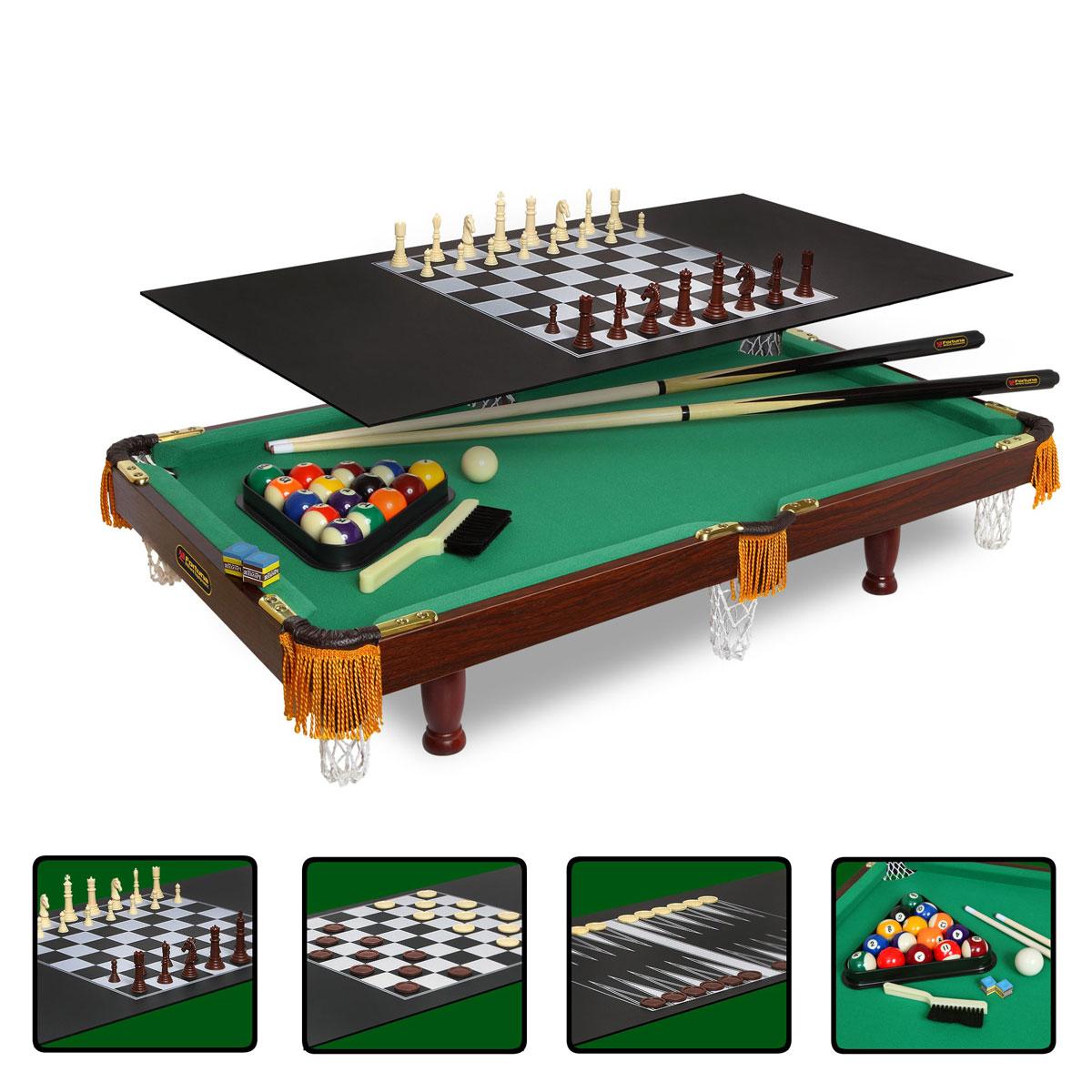 Стол бильярдный Fortuna, для американского пула, 4 в 1, 84 см х 42 см07736Бильярдный стол Fortuna - это многофункциональный игровой стол, включающий 4 игры: американский бильярд, шашки, шахматы и нарды.Основой служит бильярдный стол размером 3 фута для игры в американский пул с плитой из ЛДСП толщиной 9 мм, покрытой сукном традиционного для бильярда цвета English Green (английский зеленый). Для использования стола в качестве основы для других видов игр используется дополнительная плита толщиной 3 мм черного цвета, на которой размещается игровое поле с разметкой для соответствующей настольной игры (шашки, нарды или шахматы).Комплект аксессуаров: 1. Для игры в американский пул:Комплект шаров диаметром 32 мм (16 шт.).Треугольник для шаров.2 кия длиной 91,44 см.2 мелка Pioner (синие).Щетка для ухода за сукном.2. Для игры в шашки:Игровое поле с нанесенной на него соответствующей разметкой.Шашки 2-х цветов (коричневые и белые) по 12 шт. каждого цвета (всего 24 шт.). 3. Для игры в шахматы:Игровое поле с нанесенной на него соответствующей разметкой.Шахматные фигуры 2 комплекта разного цвета (коричневые и белые) по 16 фигур каждый (всего 32 шт.).4. Для игры в нарды:Игровое поле с нанесенной на него соответствующей разметкой.Фишки 2-х цветов (коричневые и белые) по 15 шт. каждого цвета (всего 30 шт.).