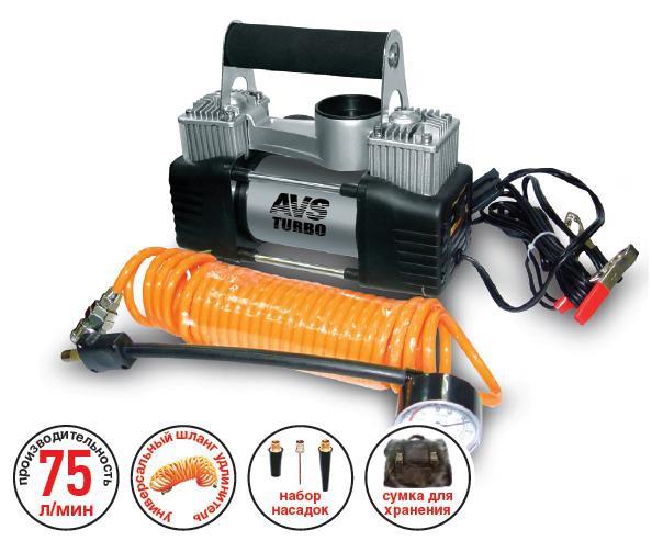 Компрессор автомобильный AVS KS750DASI200Автомобильный компрессор AVS KS750D предназначен для накачки воздухом шин легковых и коммерческих автомобилей. Рабочее напряжение компрессора - 12В. Высокая производительность делает возможным более широкое применение. Автомобильный компрессор может быть использован для накачки мячей, матрасов, проведения покрасочных работ.Преимущества: Высокотехнологичная сборка (основные детали сделаны из нержавеющей стали).Высокоточный двухшкальный манометр.Резиновые ножки.Автоматическая система защиты от перегрева. Напряжение: 12В. Максимальный ток потребления: 25 А. Максимальное давление: 10 Атм. Производительность: 75 л/мин. Рабочая температура: от -35°С до +80°С.