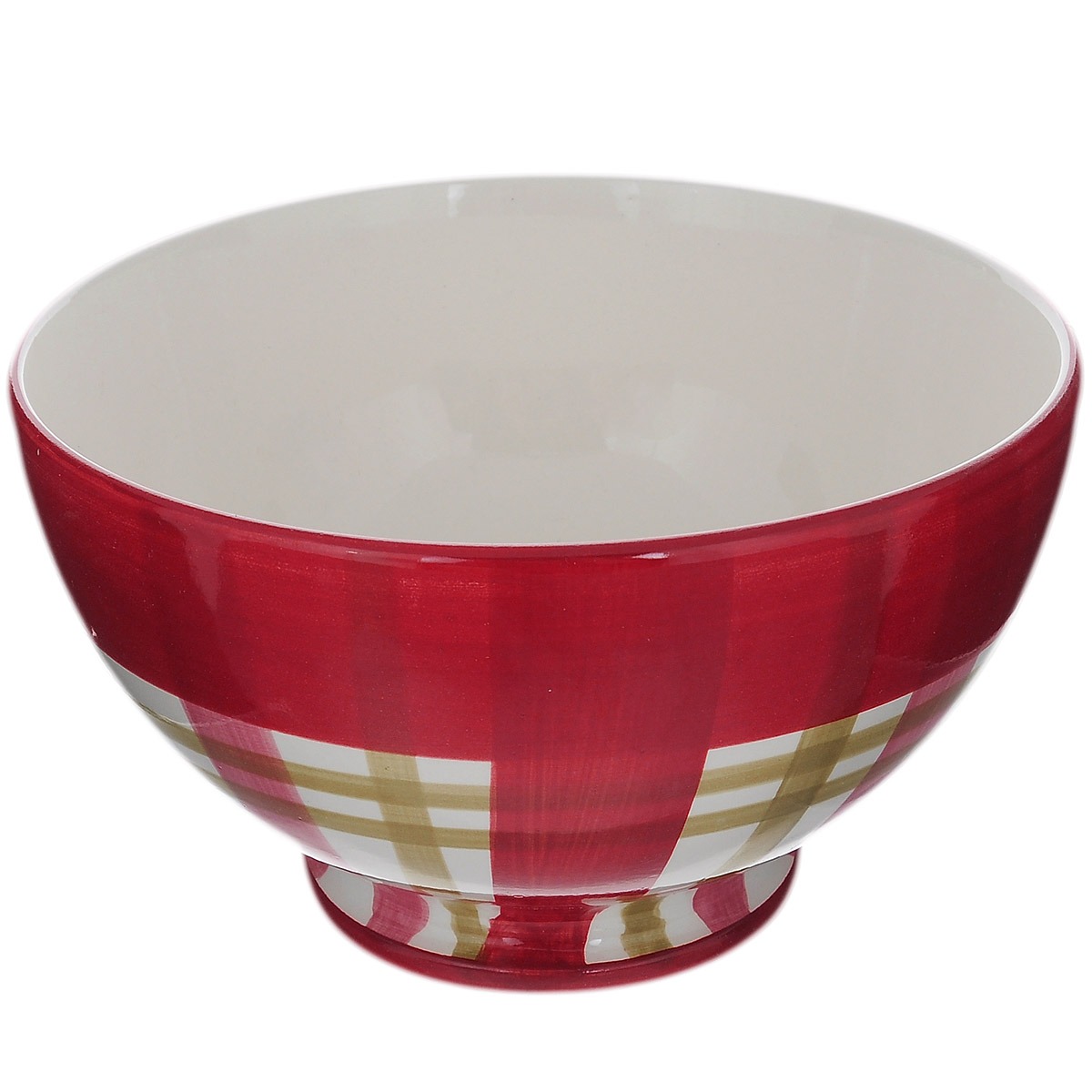 Салатник Polnaya Chasha Вишня, диаметр 18 см54 009312Салатник Polnaya Chasha Вишня изготовлен из высококачественной глазурованной керамики и оформлен рисунком в клетку. Такой салатник прекрасно подойдет для подачи салатов и закусок. Он ярко украсит ваш стол и станет практичным аксессуаром на вашей кухне. Коллекция Вишня - это очень модный и современный дизайн для использования каждый день на вашем столе. Каждый предмет данной коллекции эксклюзивно раскрашен вручную с помощью ярких устойчивых красок. Подходит для использования в микроволновых печах, а также для мытья в посудомоечных машинах. Диаметр: 18 см. Высота стенки: 10,5 см.