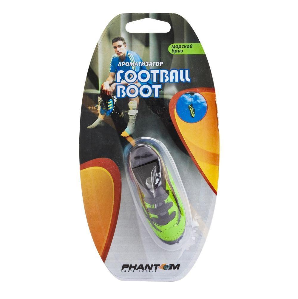 Ароматизатор Phantom Football boot, морской бриз3531_желтыйЕще один продукт для футбольных болельщиков - яркие бутсы! Бутсы сшиты как уменьшенная копия настоящей обуви спортсменов - с прошивками, шипами и шнурками. Наполнитель из ароматического волокна позволяет удерживать запах в течение длительного времени, а двойной блистер предотвращает выветривание запаха во время хранения. Подвесной тип крепления. Синтетическое волокно, заменитель кожи, отдушка