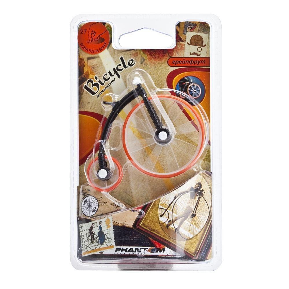 Ароматизатор Phantom Bicycle, грейпфрут80621Тема спортивной атрибутики продолжается в новой серии ароматизаторов Bicycle! Подвижные элементы ароматизатора пропитаны ароматической отдушкой. Части ароматизатора, стилизованные под колеса приходят в движения от потока воздуха из дефлектора. Стойкий аромат до 25 дней! Синтетическое волокно, заменитель кожи, отдушка