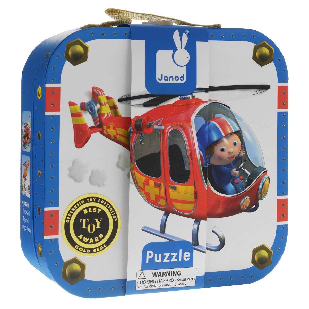 Janod Набор пазлов для малышей Пилот на 6, 9, 12 и 16 деталей пазлы janod набор пазлов в квадратном чемоданчике мама