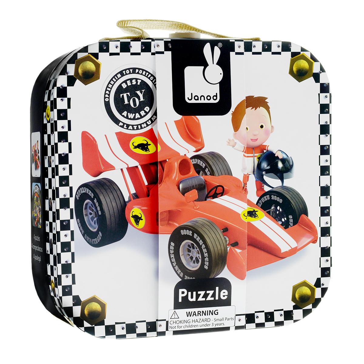Janod Набор пазлов для малышей Формула-1 на 6, 9, 12 и 16 деталей пазлы janod набор пазлов в квадратном чемоданчике мама