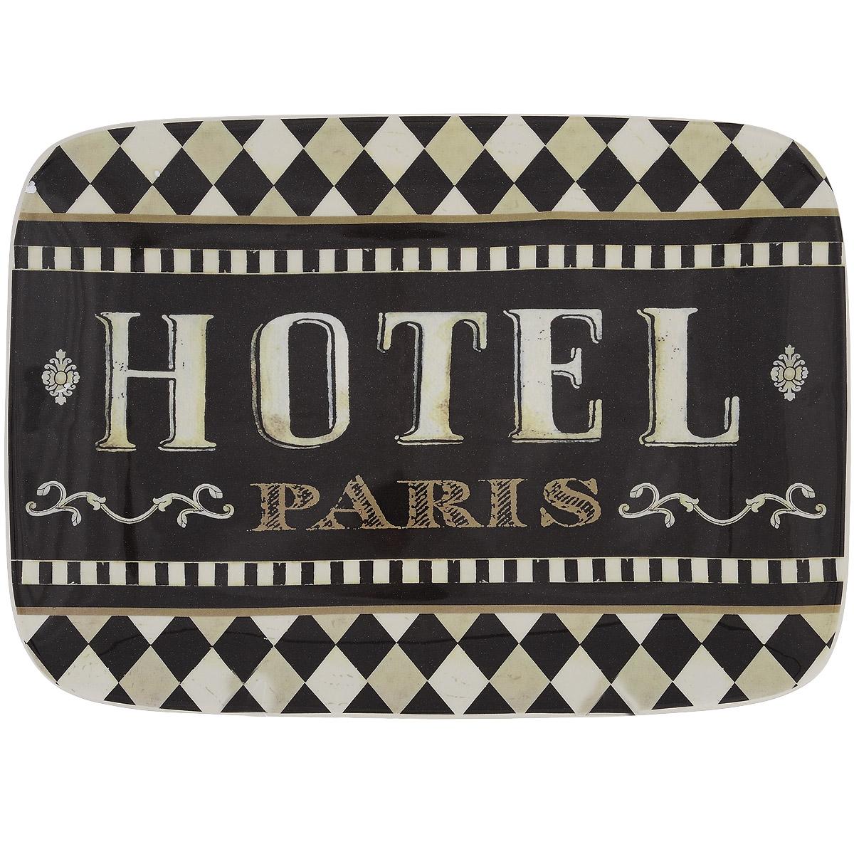 Блюдо Certified International Монмартр, 35 х 25 смVT-1520(SR)Прямоугольное блюдо Certified International выполнено из высококачественной глазурованной керамики, оформлено красочным принтом и надписью Hotel Paris. Керамику Certified International отличает практичность и высокое качество исполнения каждого изделия. Посуда расписана вручную и покрыта глазурью, выполнена из экологически чистых материалов, что обеспечивает сохранение отменного вкуса каждого блюда и его длительное хранение. Эта керамическая посуда химически инертна, не вступает в реакцию с пищей, не выделяет вредных веществ при перегреве. Можно использовать в микроволновой печи и мыть в посудомоечной машине.