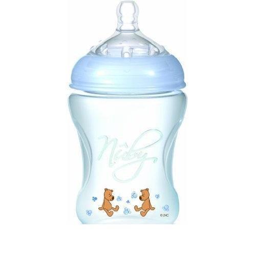 Бутылочка Nuby объемом 240 мл для новорожденных малышей обладает антиколиковой системой, соской регулируемого потока с широким основанием, удобной эргономичной формой.