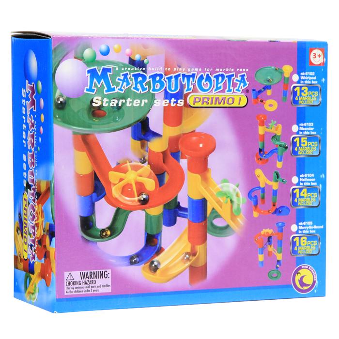 """Конструктор """"Marbutopia (Марбутопия). Карусель"""" - первый шаг ребенка в мир конструирования объемных лабиринтов. В данном комплекте имеются разноцветные пластиковые детали: лесенки-переходники, """"карусель"""", поворотные дорожки, вертикальные трубки, 4 стеклянных шарика-хамелеона и другие. Основная задача - построить горку так, чтобы шарик не застревал, а скатывался вниз по дорожкам и виражам. Особенность конструктора заключается в том, что он позволяет ребенку строить бесконечные забавные лабиринты руководствуясь своей фантазией или по прилагаемой инструкции (2 варианта сборки лабиринта). Конструирование лабиринтов полезно для развития пространственного мышления и воображения. Также развивает координацию, моторику, концентрацию, планирование, стратегию, понятие причины и следствия. Раннее развитие этих навыков, как известно, существенно увеличивает академические и интеллектуальные способности ребенка. Набор """"Карусель"""" совместим с другими наборами серии """"Primo""""..."""