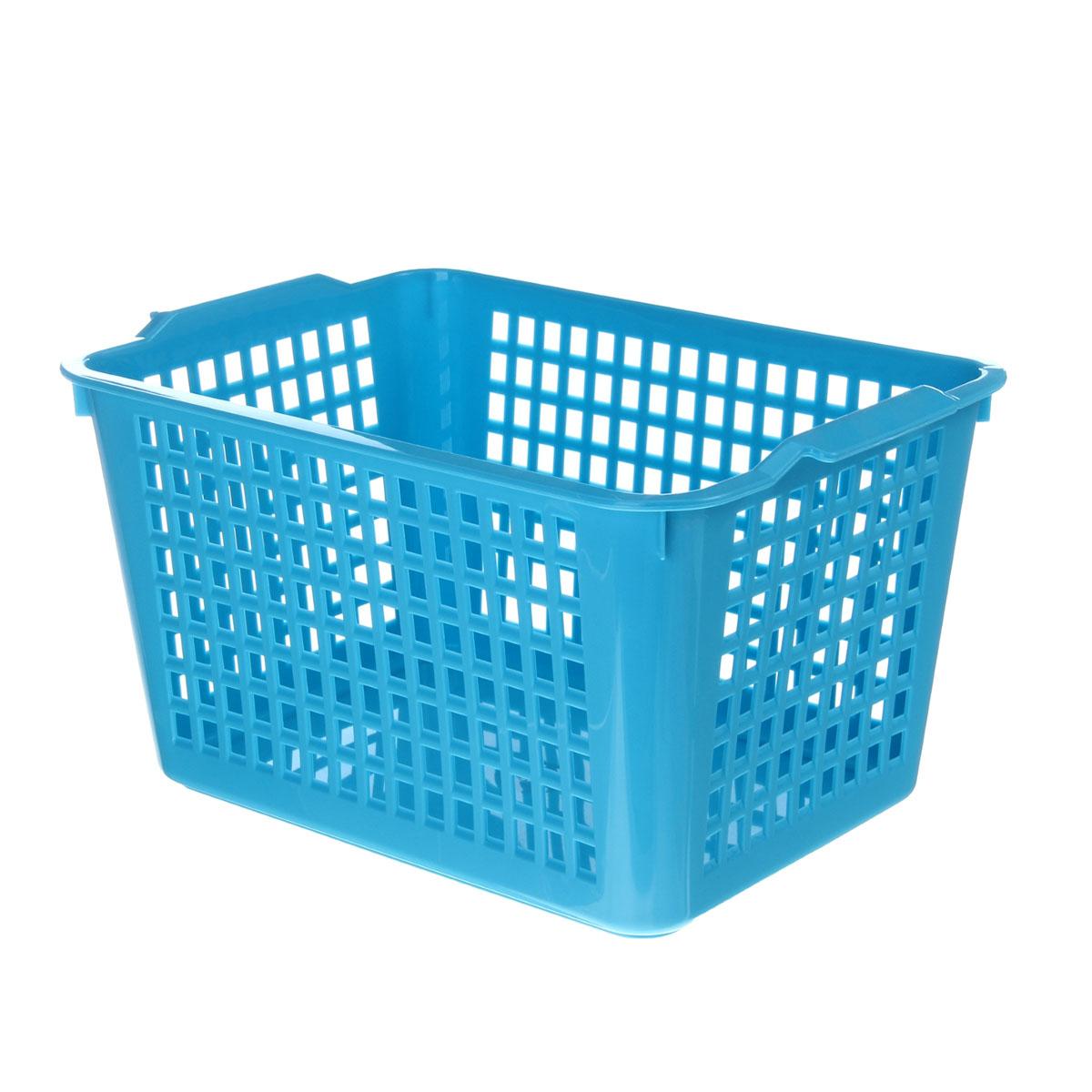 Корзинка Econova, цвет: голубой, 27 х 19 х 14,5 см718341Корзинка Econova, изготовленная из высококачественного прочного пластика, предназначена для хранения мелочей в ванной, на кухне, даче или гараже. Изделие оснащено двумя удобными ручками.Это легкая корзина со сплошным дном, жесткой кромкой и небольшими отверстиями позволяет хранить мелкие вещи, исключая возможность их потери.