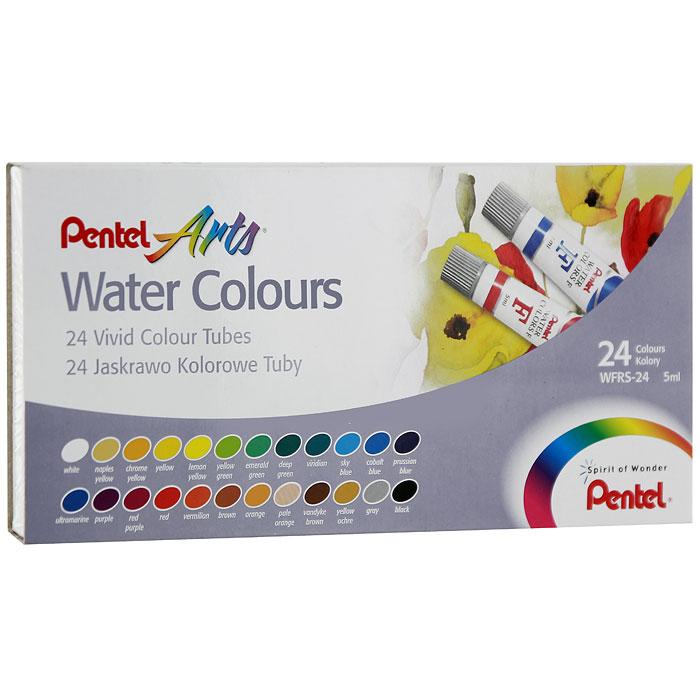 Акварель Pentel Water Colours, 24 цветаWFRS-24Акварельные краски Pentel Water Colours помогут воплотить в жизнь любые художественные замыслы на занятиях в школах, детских садах, художественных кружках или дома. Яркие насыщенные цвета делают процесс рисования более увлекательным. В набор входят краски 24 цветов в пластиковых тубах. Краски не выгорают, не трескаются при высыхании, легко смешиваются и легко выдавливаются из пластиковой тубы.Кисточка в комплект не входит. Количество цветов: 24.