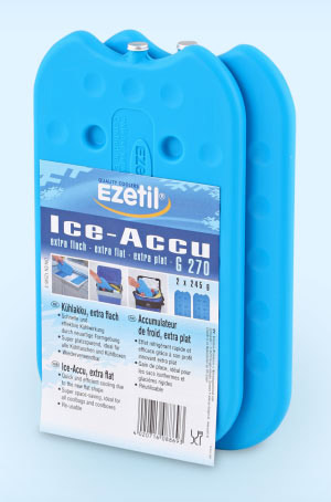 Аккумулятор холода Ezetil Ice Akku G 270, 2 х 245 г886939Аккумулятор холода Ezetil Ice Akku G 270 применяют для охлаждения продуктов в термосумках и термоконтейнерах. Также аккумулятор холода необходим для стабилизации температур в низкотемпературных камерах, для увеличения времени безопасного хранения замороженных продуктов при аварийных отказах холодильника / морозильника.Преимущества аккумулятора холода:- Быстрое и эффективное охлаждение; - Новая сверхтонкая формула экономит место;- Идеально подходит для сумок-холодильников и контейнеров;- Многоразовое использование;- От -25 °C до +55 °C. Не подходит для мытья в посудомоечной машине. Содержимое пакета не токсично.Объем: 0,49 л.Размер аккумулятора: 21 см х 12 см х 1 см.Вес: 245 г.Количество: 2 шт.