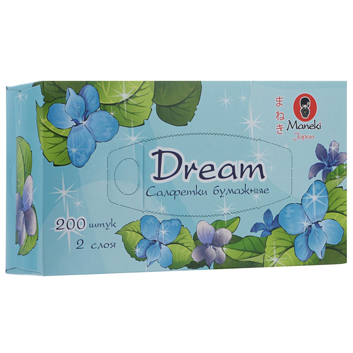 Maneki Салфетки бумажные Dream, двухслойные, цвет: голубой, 200 шт5010777139655Двухслойные бумажные салфетки Maneki Dream, выполненные из натуральной экологически чистой целлюлозы, подарят превосходный комфорт и ощущение чистоты и свежести. Салфетки упакованы в коробку, поэтому их удобно использовать дома или взять с собой в офис или машину.Не содержат хлор.
