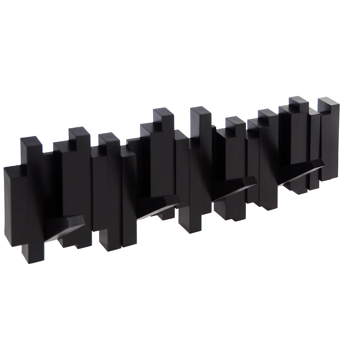 Вешалка настенная Umbra Sticks, цвет: шоколадный, 5 крючковCLP446Стильная и прочная вешалка Umbra Sticks интересной формы и оригинального дизайна изготовлена из прочного пластика. Имеет 5 откидных и прочных крючков. Когда они не используются, то складываются, превращая конструкцию в плоский декоративный элемент стильной формы. Вешалка Umbra Sticks идеально подходит для маленьких прихожих и ограниченных пространств. Каждый крючок выдерживает вес до 2,3 кг. Размер вешалки: 50 см х 17 см х 2 см.