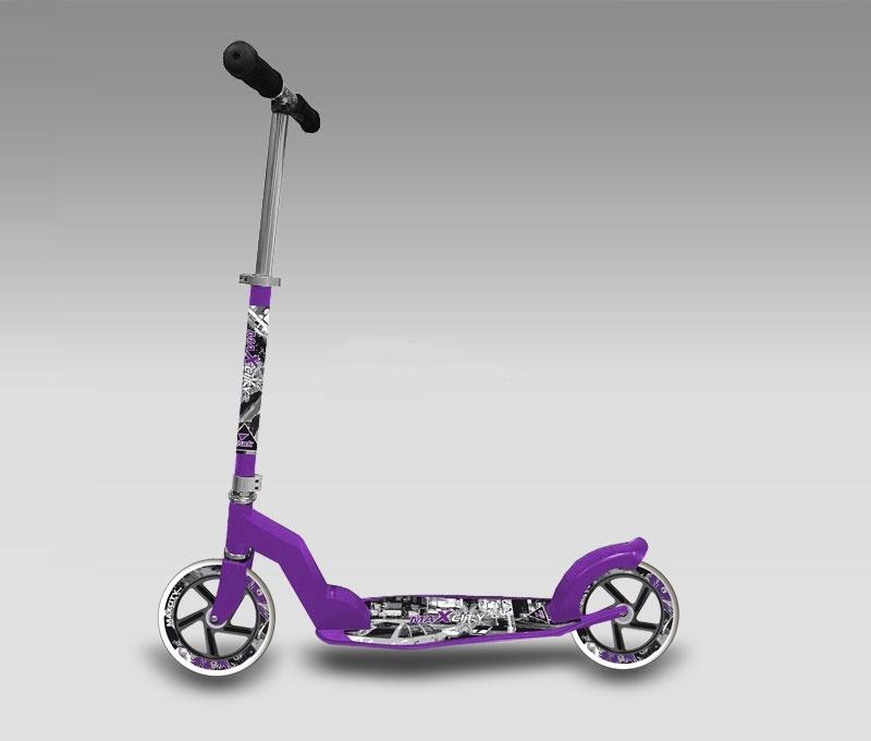 Самокат MaxCity TRUCK фиолетовыйMHDR2G/AЛегкий и быстрый самокат для городской езды.Колеса 200 мм и подшипники ABEC-9 позволяют развивать большую скорость и делают самокат более проходимым. Легко складывается, в комплектации набор ключей.Предназначен для взрослых и детей от 6 лет.
