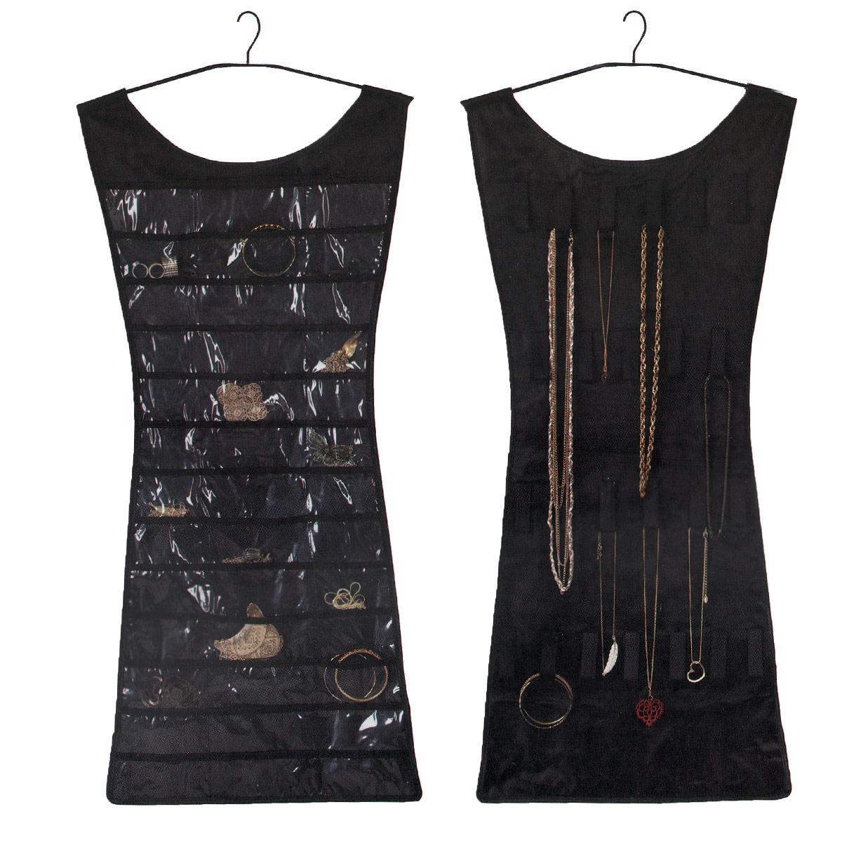 Органайзер для украшений Umbra Little black dress, цвет: черный, 46,4 х 92 смБрелок для ключейОрганайзер Umbra Little black dress создан для всего, что есть в коллекции модницы: на одной стороне 24 петельки для бус, цепочек, браслетов, часов и массивных серег, на другой - 39 прозрачных кармана для мелких вещиц (кольца, клипсы, кулоны). Благодаря этой гениальной вещи вся бижутерия будет в порядке, а главное, не нужно искать понадобившуюся вещь - она всегда на виду. Еще одна удобная деталь: органайзер можно повесить прямо в шкаф, вешалка включена в комплект. Так что теперь, подбирая украшения к наряду, вы потратите меньше времени. Размер органайзера: 46,5 см х 107 см.
