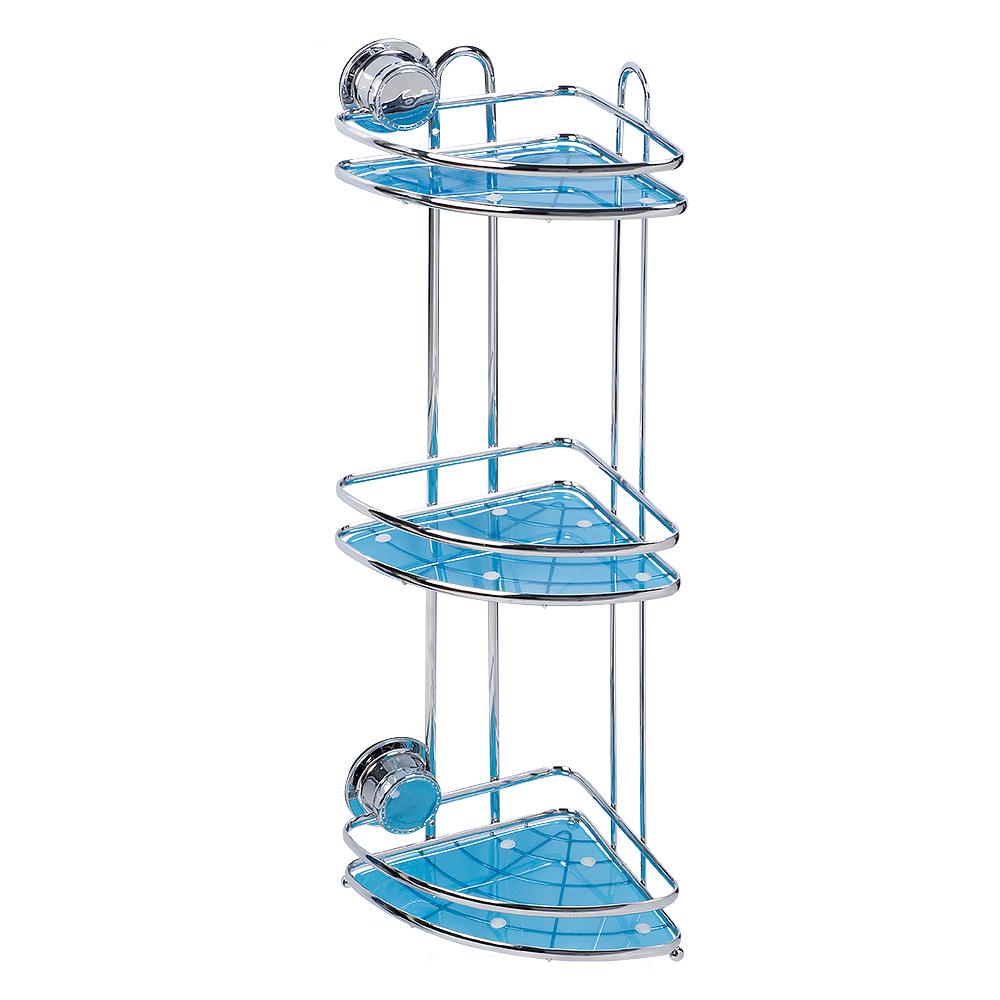 Полка угловая Tatkraft Vacuum Screw Conrad, 3-х ярусная, 17 х 17 х 54 смRG-D31SУгловая полка Tatkraft Vacuum Screw Conrad изготовлена из хромированной стали, имеет 3 яруса, отделанных пластиком голубого цвета. Полка предназначена для хранения различных ванных принадлежностей. Крепится к стене при помощи специальной технологии Vacuum Screw HARD (Вакуумный шуруп). Эта первая технология, которая совмещает преимущества двух систем - адгезивной и вакуумной. Подходит только для ровных поверхностей. Вакуум создает мощную прижимную силу, адгезив на молекулярном уровне связывает поверхности за счет проникновения в поверхность крепления. Совместно эти две технологии создают систему, не имеющую аналогов на рынке. Vacuum Screw - это легкая и быстрая установка без сверления на любой воздухонепроницаемой поверхности. Крепление многоразовое - до 1000 установок. Полка выдерживает вес до 8 кг.