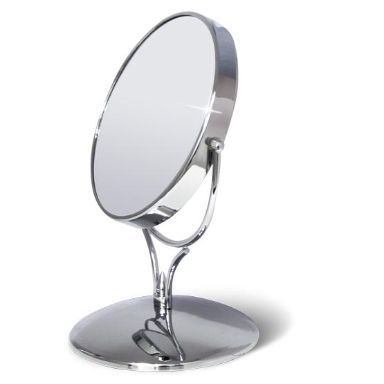 Зеркало двустороннее на подставке Tatkraft Aphrodite, диаметр 15 см11144Зеркало двустороннее на подставке Tatkraft Aphrodite изготовлено из хромированной стали. В круглом металлическом корпусе находятся 2 зеркала - обычное и увеличивающее, двукратное увеличение которого упрощает процесс ухода за лицом, надевания контактных линз.Отличный подарок представительнице прекрасного пола. Характеристики:Материал:пластик, нержавеющая сталь. Диаметр зеркала: 15 см. Длина ножки: 5 см. Диаметр подставки: 13,5 см. Размер упаковки: 13,5 см х 13,5 см х 23 см. Артикул: 11144.