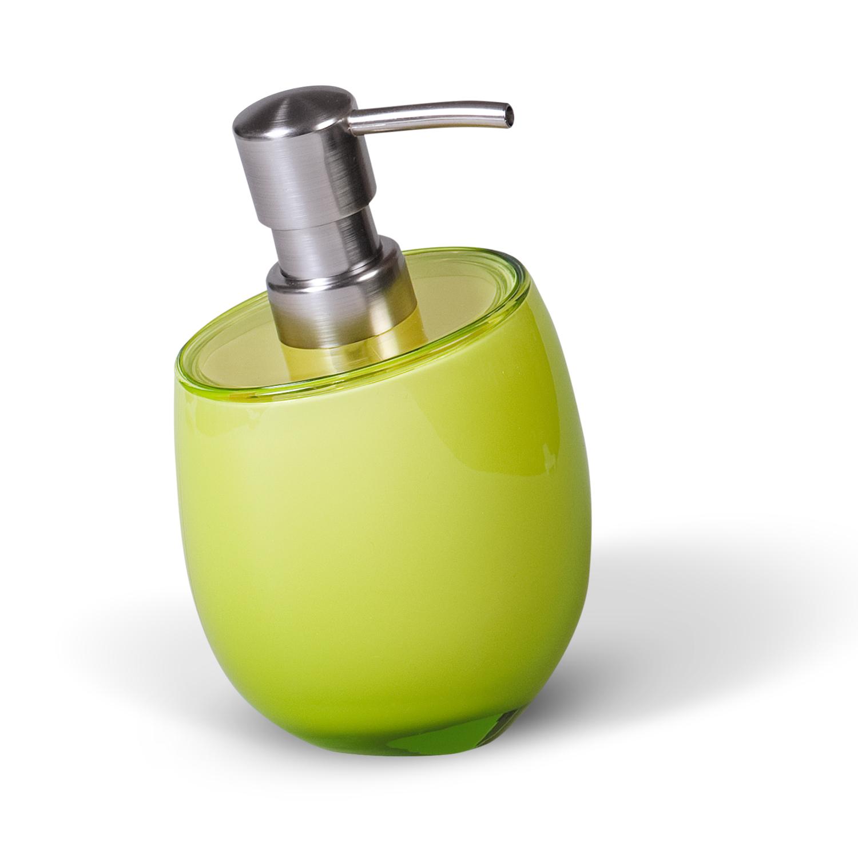 Дозатор для жидкого мыла Immanuel Repose Green, цвет: салатовый. 1232568/2/3Дозатор для жидкого мыла Immanuel Repose Green изготовлен из акрила салатового цвета. Такой аксессуар очень удобен в использовании: достаточно лишь перелить жидкое мыло в дозатор, а когда необходимо использование мыла, легким нажатием выдавить нужное количество. Дозатор Immanuel Repose Green станет стильным аксессуаром, который украсит интерьер ванной комнаты. Характеристики: Материал: акрил, пластик. Цвет: салатовый. Размер дозатора по верхнему краю: 9 см х 7,5 см. Высота дозатора: 15 см. Артикул: 12325.