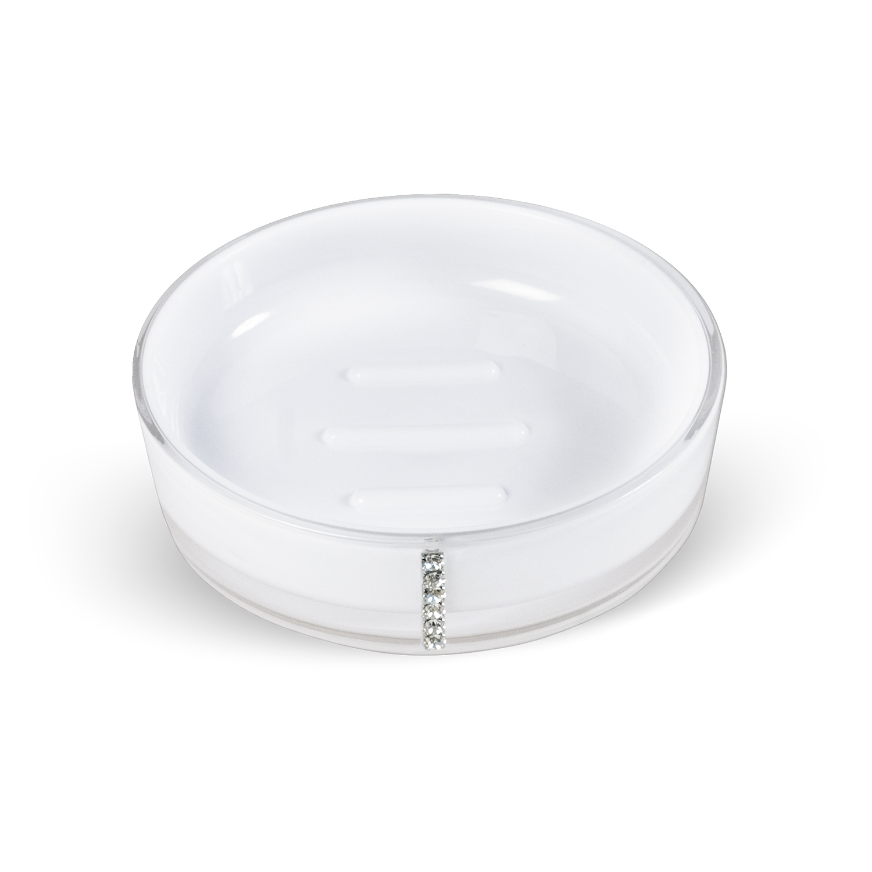 Мыльница Tatkraft Diamond White, цвет: белыйRG-D31SКруглая мыльница Diamond White выполнена из акрила и украшена стразами. Она имеет ребристое дно, что препятствует скольжению мыла. Такая мыльница станет стильным аксессуаром, который украсит интерьер вашей ванной комнаты. Характеристики:Материал: акрил, стразы. Цвет: белый. Диаметр мыльницы:11,5 см. Высота мыльницы: 3 см. Размер упаковки:11,5 см х 11,5 см х 3 см. Артикул: 694727.