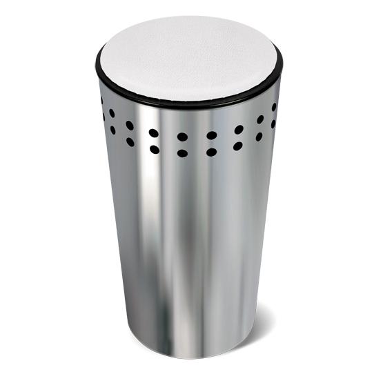 Корзина для белья Tatkraft Dolly, с крышкой-сидением, 32 л391602Оригинальная корзина для белья Tatkraft Dolly из нержавеющей стали - это функциональная и полезная вещь, которая не только сохранит ваше белье, но и стильно украсит интерьер ванной комнаты. Крышка закрывается плотно, выполнена в виде мягкого сиденья - благодаря этому корзину можно использовать не только по прямому назначению, но и в качестве дополнительного стула. Внутренний объем 32 литра, что достаточно для хранения вещей семьи из 3-4 человек. Модель прекрасно впишется в любой интерьер ванной комнаты. Хромированная сталь - долговечный материал, устойчивый к повышенной влажности и коррозии.