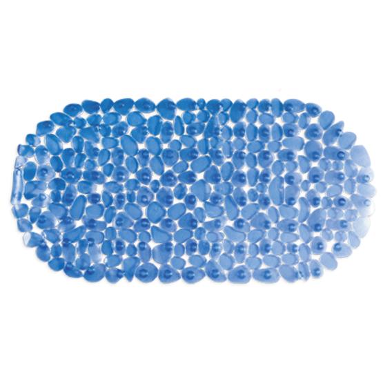 Коврик для ванны Tatkraft Mare, цвет: синий, 68 х 35 см14220Коврик для ванны и душевой кабины Tatkraft Mare, выполненный из винила, оформлен в виде гальки синего цвета.Противоскользящий коврик для ванны - это хорошая защита детей и взрослых от неожиданных падений на гладкой мокрой поверхности.Коврик очень плотно крепится ко дну множеством присосок, расположенных по всей изнаночной стороне. Отверстия, предназначенные для пропуска воды, способствуют лучшему сцеплению с поверхностью, таким образом, полностью, исключая скольжение. Принимая душ или ванную, постелите противоскользящий коврик. Это особенно актуально для семьи с маленькими детьми и пожилыми людьми. Характеристики: Материал:винил. Цвет:синий. Размер:68 см х 35 см. Артикул:14220.