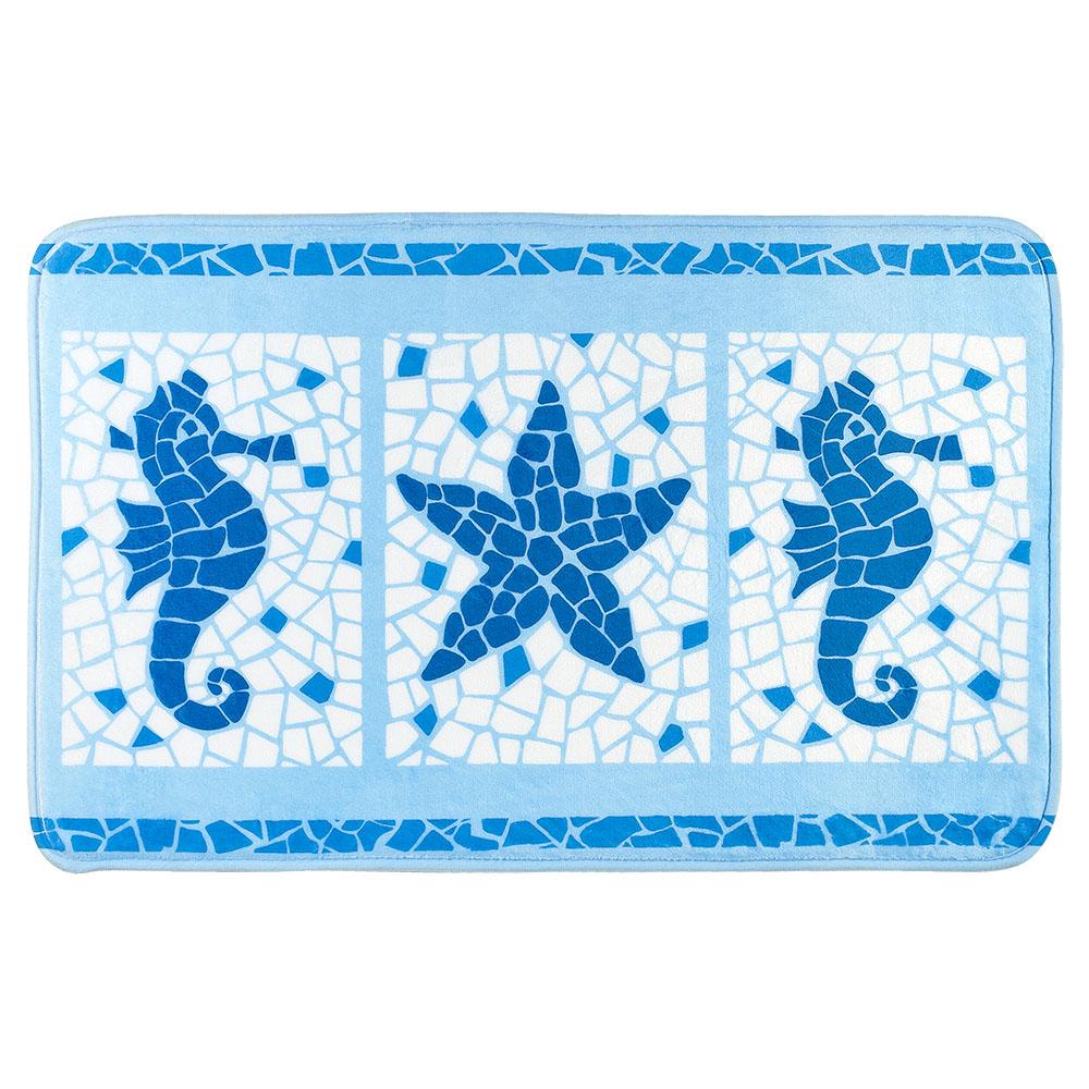 Коврик для ванной комнаты Tatkraft Marine Motifs, 50 см х 80 см97678Коврик для ванной комнаты Tatkraft Marine Motifs изготовлен из микрофибры Ultra Soft - мягкого, приятного на ощупь материала. Коврик отлично поглощает и впитывает влагу. Основание противоскользящее. Яркий красочный рисунок, выполненный в морском стиле под мозаику, внесет оригинальную нотку в интерьер ванной комнаты. Коврики Tatkraft - прекрасное решение для ванной комнаты.