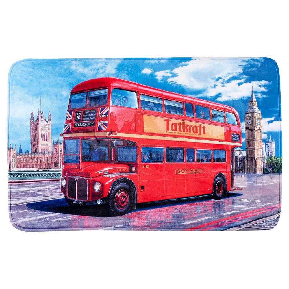 Коврик для ванной комнаты Tatkraft London Bus, 50 см х 80 см531-105Коврик для ванной комнаты Tatkraft London Bus изготовлен из микрофибры - мягкого приятного на ощупь материала. Коврик отлично поглощает и впитывает влагу. Основание противоскользящее. Яркий красочный рисунок в виде двухэтажного красного автобуса внесет оригинальную нотку в интерьер ванной комнаты. Коврики Tatkraft - прекрасное решение для ванной комнаты.