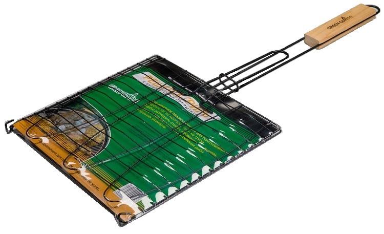 Решетка-гриль Green Glade, с антипригарным покрытием, 28 х 28 смЩО-1000Двойная решетка-гриль Green Glade изготовлена из высококачественной стали с антипригарным покрытием. Это идеальное приспособление для приготовления барбекю как на мангале, так и на гриле. На решетке удобно размещать стейки, ребрышки, гамбургеры, сосиски и т.д. Предназначена для приготовления пищи на углях. Блюда получаются сочными, ароматными, с аппетитной специфической корочкой. Рукоятка изделия оснащена деревянной вставкой и фиксирующей скобой, которая зажимает створки решетки. Размер рабочей поверхности решетки: 28 см х 28 см. Общая длина решетки (с ручкой): 54 см.