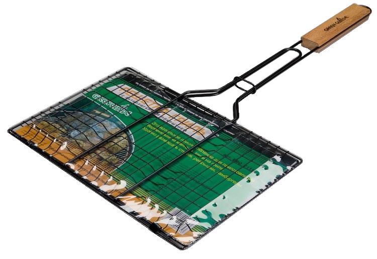 Решетка-гриль Green Glade, с антипригарным покрытием, 35 см х 23 см54 009312Двойная решетка-гриль Green Glade изготовлена из высококачественной стали с антипригарным покрытием. Это идеальное приспособление для приготовления барбекю как на мангале, так и на гриле. На решетке удобно размещать стейки, ребрышки, гамбургеры, сосиски и т.д. Предназначена для приготовления пищи на углях. Блюда получаются сочными, ароматными, с аппетитной специфической корочкой. Рукоятка изделия оснащена деревянной вставкой и фиксирующей скобой, которая зажимает створки решетки для удобного и безопасного хранения. Размер рабочей поверхности решетки: 35 см х 23 см. Общая длина решетки (с ручкой): 63 см.