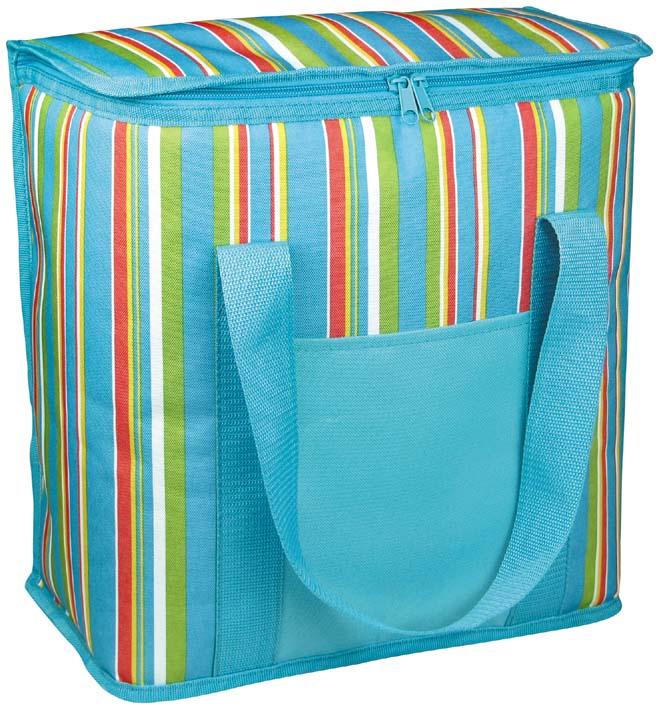 Термосумка Green Glade, цвет: голубой, 12 л. Р10124037Изотермическая термосумка Green Glade пригодится на любом пикнике. Изнутри термосумка отделана специальным теплоизолирующим материалом, способным надолго сохранить холод, даже в жару. Сохранение температурного режима до 12 часов. Снаружи сумка изготовлена из плотного полиэстера с принтом в разноцветную вертикальную полоску. Достаточно вместительна, подходит для хранения и пищи, и напитков. Имеет одно основное отделение, закрывающееся на молнию. Спереди содержится открытый кармашек для хранения салфеток. Для удобной переноски сумка оснащена двумя ручками. Сумка идеально подходит для отдыха на природе, пикников, туристических походов и путешествий. Объем: 12 л.