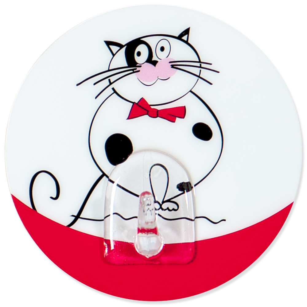 Крючок адгезивный Tatkraft Funny cats. 1821168/5/1Крючок адгезивный Tatkraft Funny cats изготовлен из пластика и декорирован изображением кота. Крючок может быть установлен только на ровной воздухонепроницаемой поверхности: плитка, стекло, пластик, металл, ламинированное дерево и другие. Крючок является многоразовым, что позволяет перевесить его в любое удобное место. Крючок Tatkraft Funny cats имеет авторский дизайн, который украсит любой интерьер. Диаметр: 8 см. Длина крючка: 1,5 см.Максимальный вес: 3 кг.