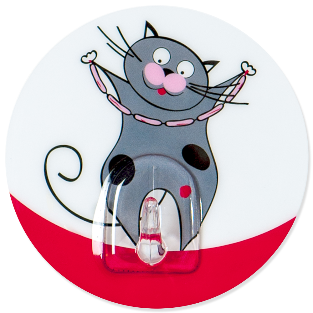 Крючок адгезивный Tatkraft Funny cats. 1822818228Крючок адгезивный Tatkraft Funny cats изготовлен из пластика и декорирован изображением кота. Крючок может быть установлен только на ровной воздухонепроницаемой поверхности: плитка, стекло, пластик, металл, ламинированное дерево и другие. Крючок является многоразовым, что позволяет перевесить его в любое удобное место. Крючок Tatkraft Funny cats имеет авторский дизайн, который украсит любой интерьер. Диаметр: 8 см. Длина крючка: 1,5 см.Максимальный вес: 3 кг.