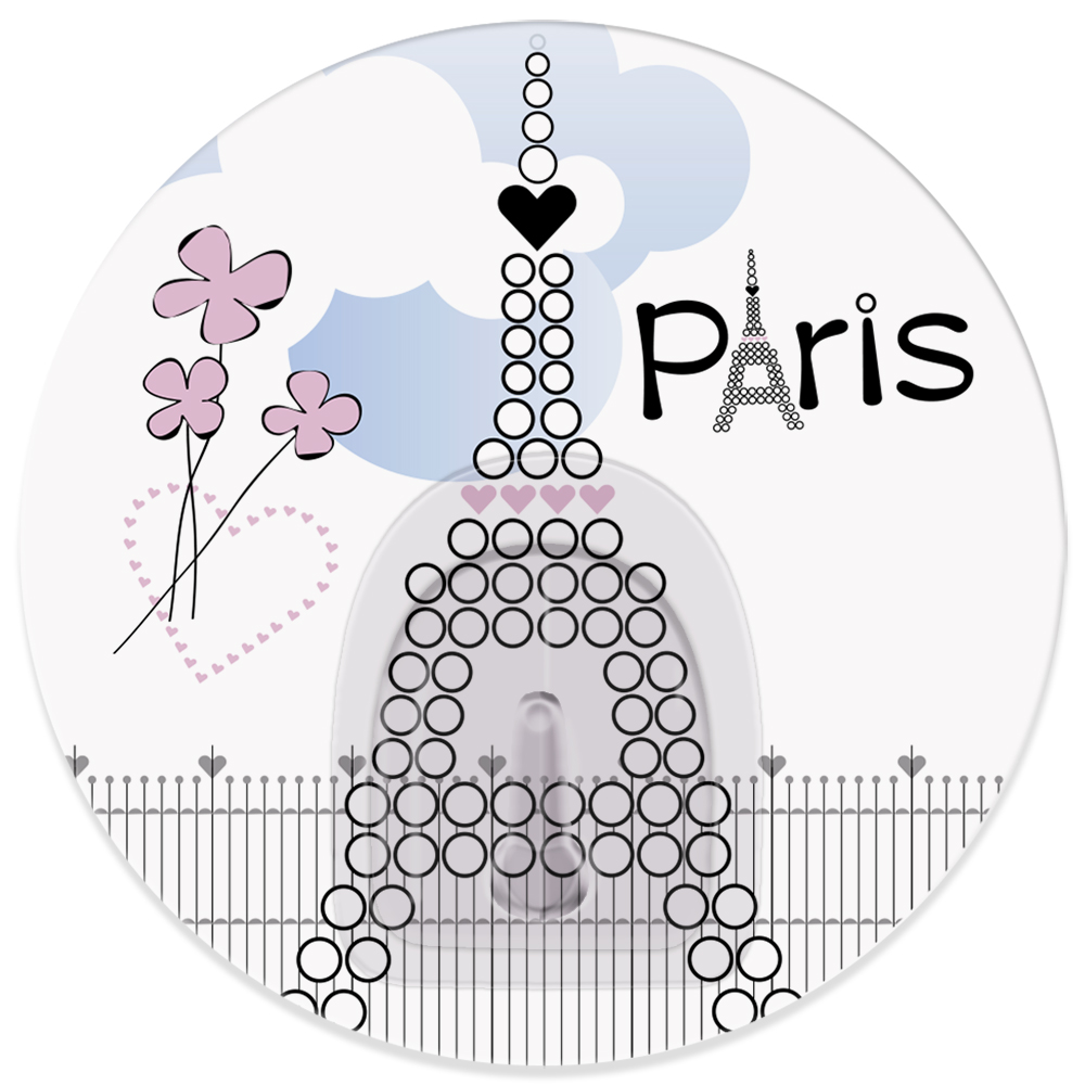 Крючок адгезивный Tatkraft Paris La Tour Eiffel18242Адгезивный крючок Tatkraft Paris La Tour Eiffel изготовлен из пластика и декорирован изображением Эйфелевой башни. Крючок может быть установлен только на ровной воздухонепроницаемой поверхности: плитка, стекло, пластик, металл, ламинированное дерево и другие. Крючок является многоразовым, что позволяет перевесить его в любое удобное место. Крючок Tatkraft Paris La Tour Eiffel имеет авторский дизайн, который украсит любой интерьер.Диаметр: 8 см. Длина крючка: 1,5 см.Максимальный вес: 3 кг.