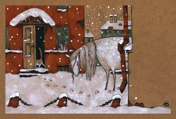 Открытка Снегопыт. Из набора Про Лошадь. Автор Катя Бауман030526004Оригинальная дизайнерская открытка Снегопыт из набора «Про лошадь» выполнена из плотного матового картона. На лицевой стороне расположена репродукция картины художника Екатерины Бауман. На задней стороне имеется поле для записей. Такая открытка станет великолепным дополнением к подарку или оригинальным почтовым посланием, которое, несомненно, удивит получателя своим дизайном и подарит приятные воспоминания.