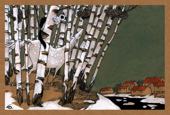 Открытка Грачи прилетели. Из набора Про Лошадь. Автор Катя БауманБрелок для ключейОригинальная дизайнерская открытка Грачи прилетели из набора «Про лошадь» выполнена из плотного матового картона. На лицевой стороне расположена репродукция картины художника Екатерины Бауман. На задней стороне имеется поле для записей. Такая открытка станет великолепным дополнением к подарку или оригинальным почтовым посланием, которое, несомненно, удивит получателя своим дизайном и подарит приятные воспоминания.
