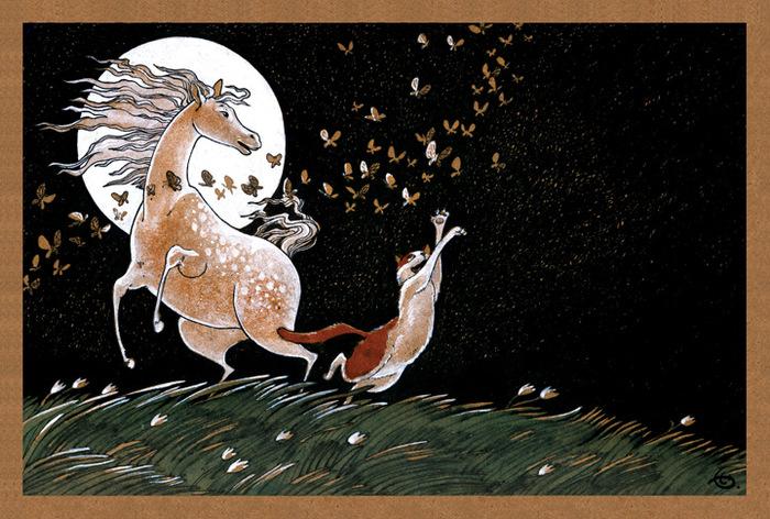 Открытка Танцы полной луны. Из набора Про Лошадь. Автор Катя БауманБрелок для ключейОригинальная дизайнерская открытка Танцы полной луны из набора «Про лошадь» выполнена из плотного матового картона. На лицевой стороне расположена репродукция картины художника Екатерины Бауман. На задней стороне имеется поле для записей. Такая открытка станет великолепным дополнением к подарку или оригинальным почтовым посланием, которое, несомненно, удивит получателя своим дизайном и подарит приятные воспоминания.