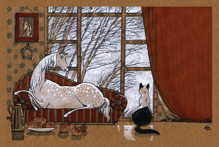 Открытка Завтра — зима. Из набора Про Лошадь. Автор Катя БауманKT400(4)Оригинальная дизайнерская открытка Завтра - зима из набора «Про лошадь» выполнена из плотного матового картона. На лицевой стороне расположена репродукция картины художника Екатерины Бауман. На задней стороне имеется поле для записей. Такая открытка станет великолепным дополнением к подарку или оригинальным почтовым посланием, которое, несомненно, удивит получателя своим дизайном и подарит приятные воспоминания.