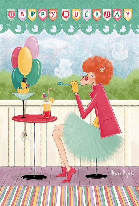 Открытка Happy Duck Day. Из набора Год овцы. Автор Татьяна ПероваBE10-012Оригинальная дизайнерская открытка Happy Duck Day из набора «Год овцы» выполнена из плотного матового картона. На лицевой стороне расположена репродукция картины художника Татьяны Перовой. На задней стороне имеется поле для записей. Такая открытка станет великолепным дополнением к подарку или оригинальным почтовым посланием, которое, несомненно, удивит получателя своим дизайном и подарит приятные воспоминания.